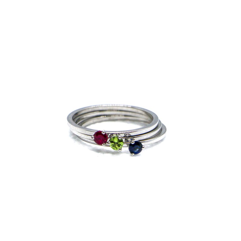 Hand Made August Birthstone and 14k White Gold Stacking Ring