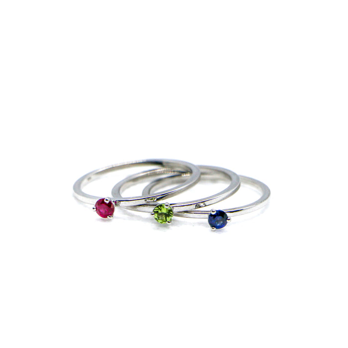 Hand Made July Birthstone and 14k White Gold Stacking Ring