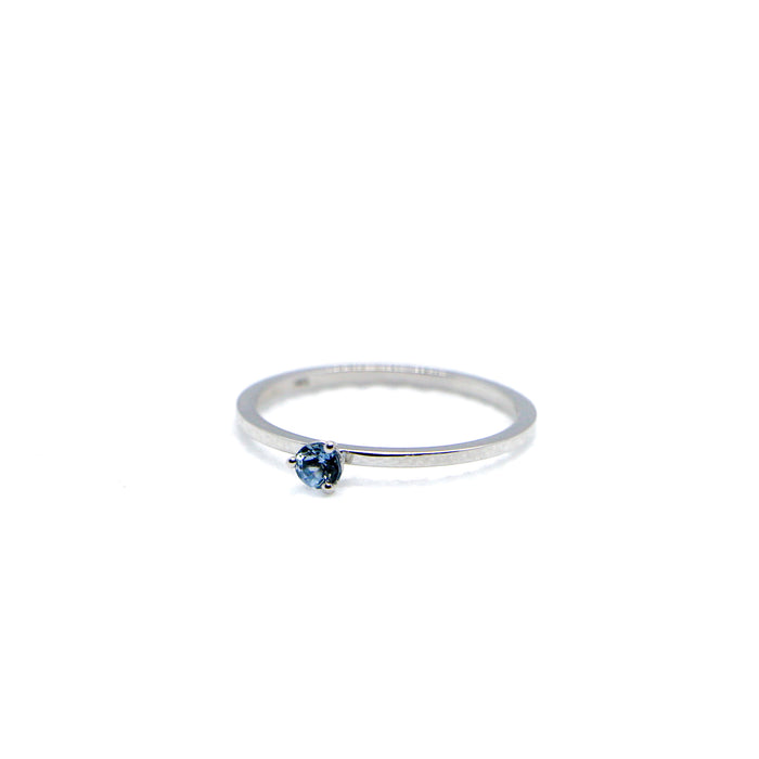 Hand Made December Birthstone and 14k White Gold Stacking Ring
