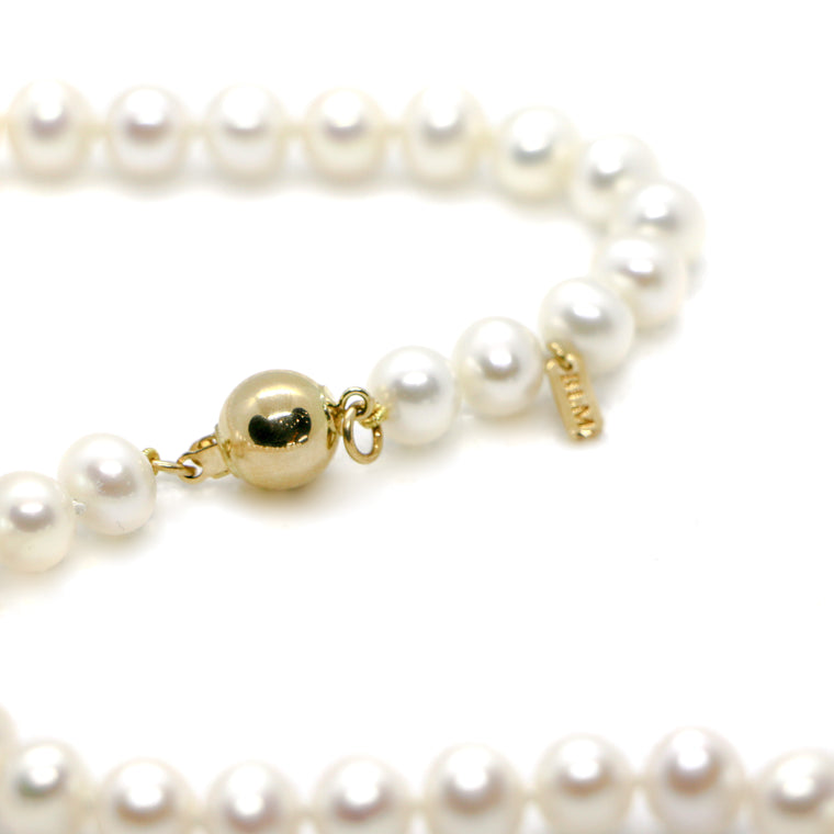 20inch 14k Yellow Gold Fresh Water Pearl Strand Necklace (8.5x9.5mm)