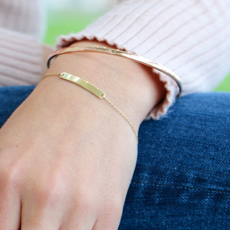 Hand Made 14k Yellow Gold Bangle Bracelet