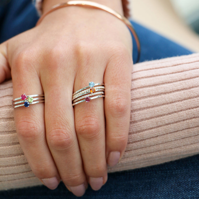 Hand Made October Birthstone and 14k White Gold Stacking Ring