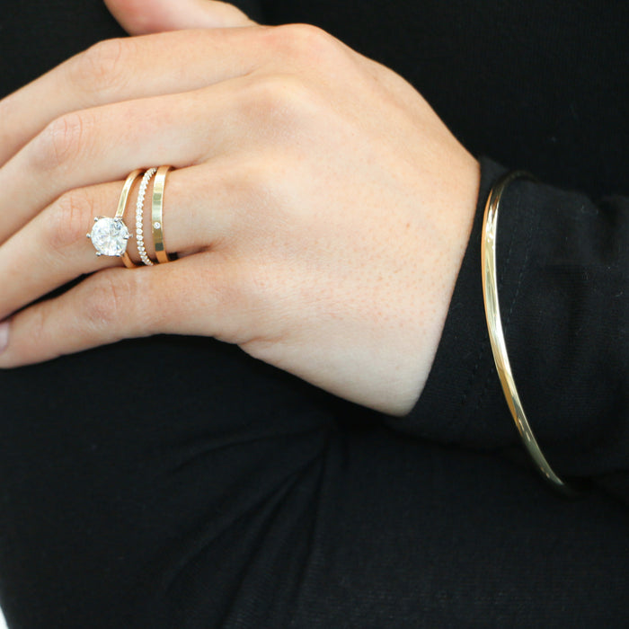 Hand Made 14k Yellow Gold Diamond Stacking Ring