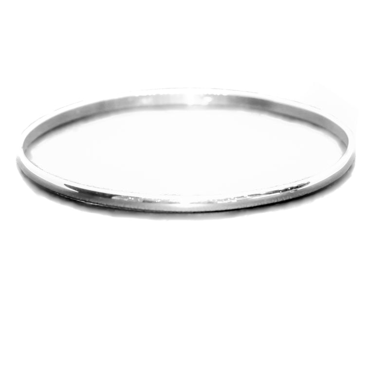 Hand Made 14k White Gold Bangle Bracelet