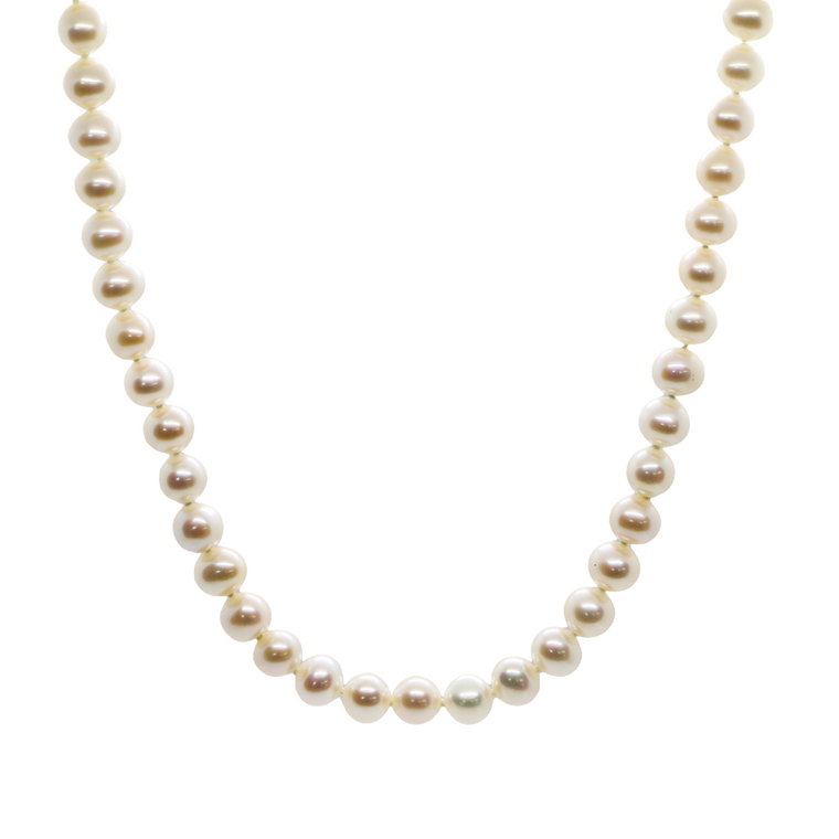 18inch 14k White Gold Fresh Water Pearl Strand Necklace (7.5x8.5mm)