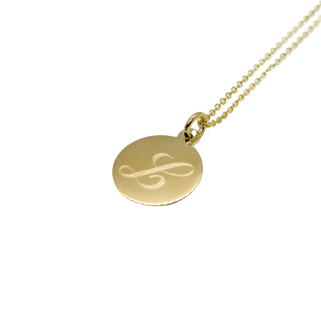 Hand Made Signature Initial L Disc Pendant