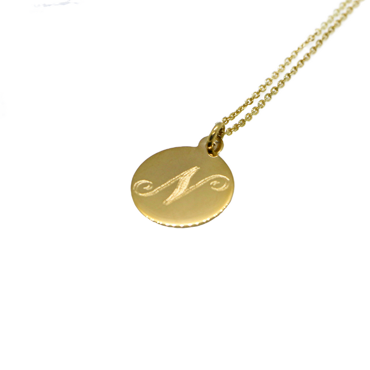 Hand Made Signature Initial N Disc Pendant