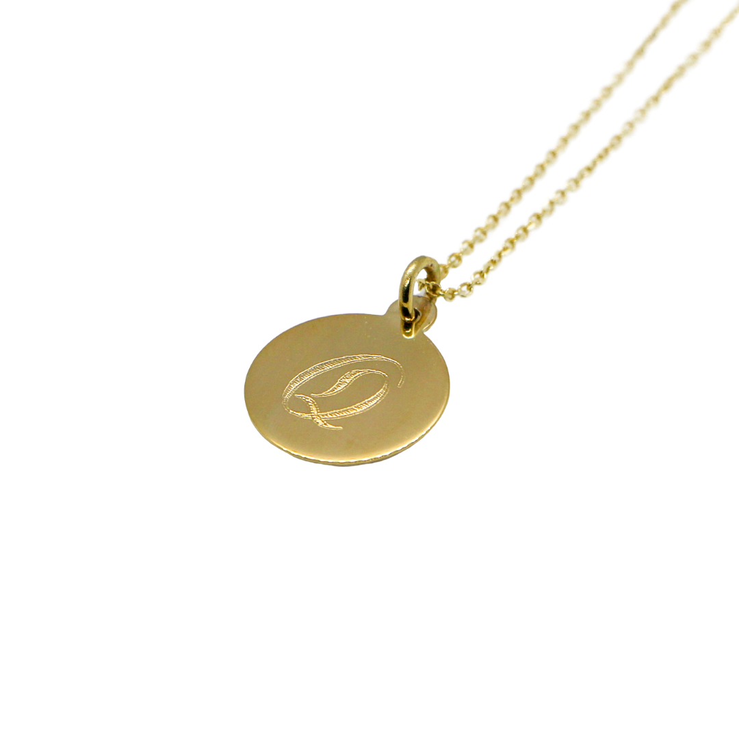 Hand Made Signature Initial Q Disc Pendant