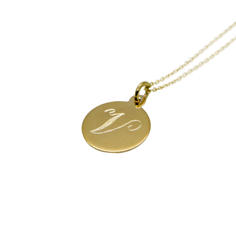 Hand Made Signature Initial V Disc Pendant