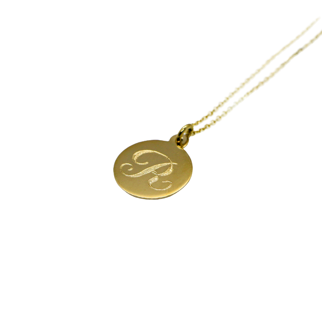 Hand Made Signature Initial R Disc Pendant
