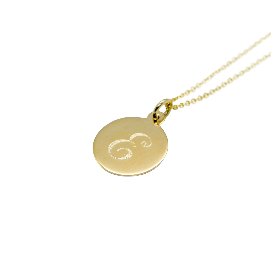 Hand Made Signature Initial E Disc Pendant