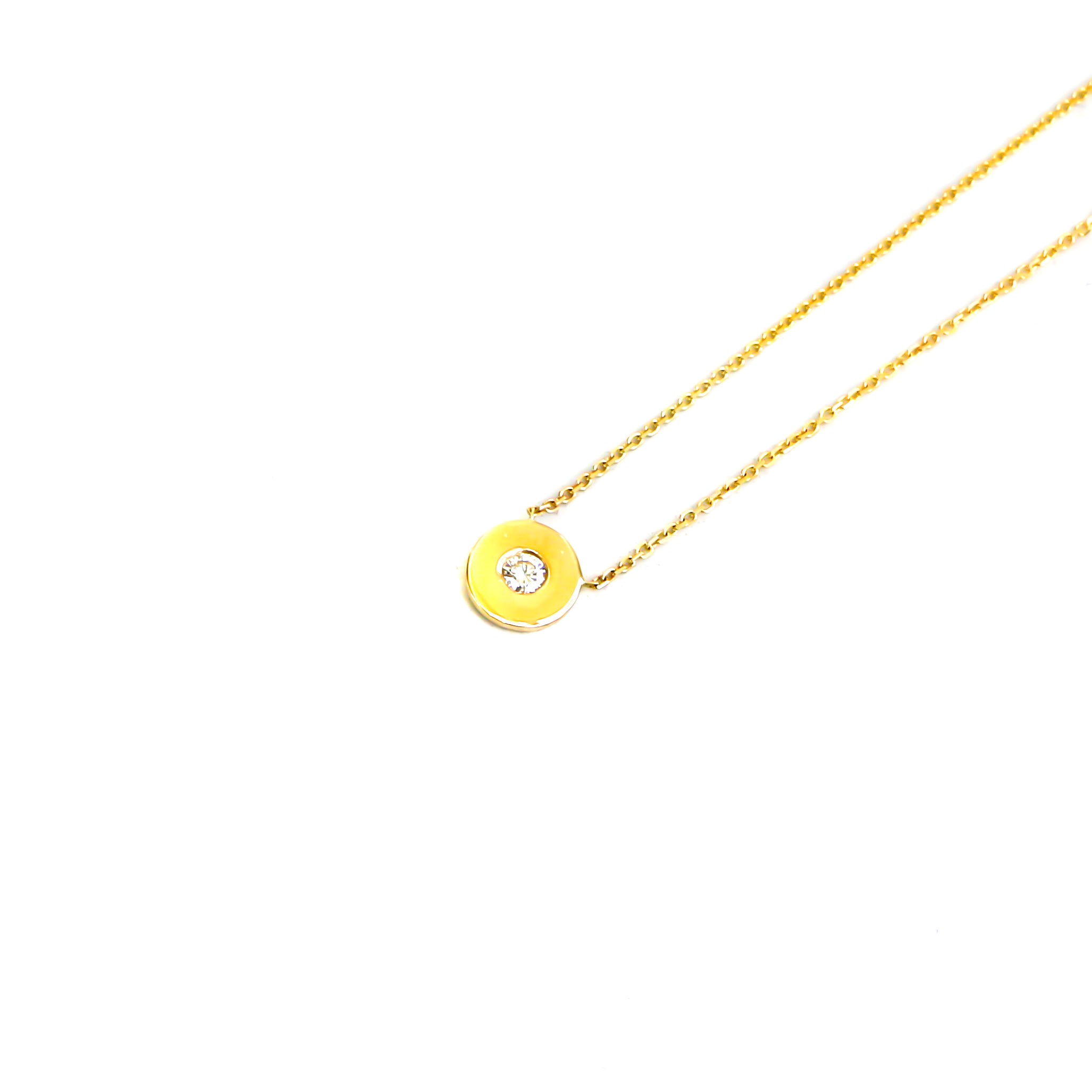 Hand Made  14k Yellow Gold .10ctw Disc Diamond Pendant