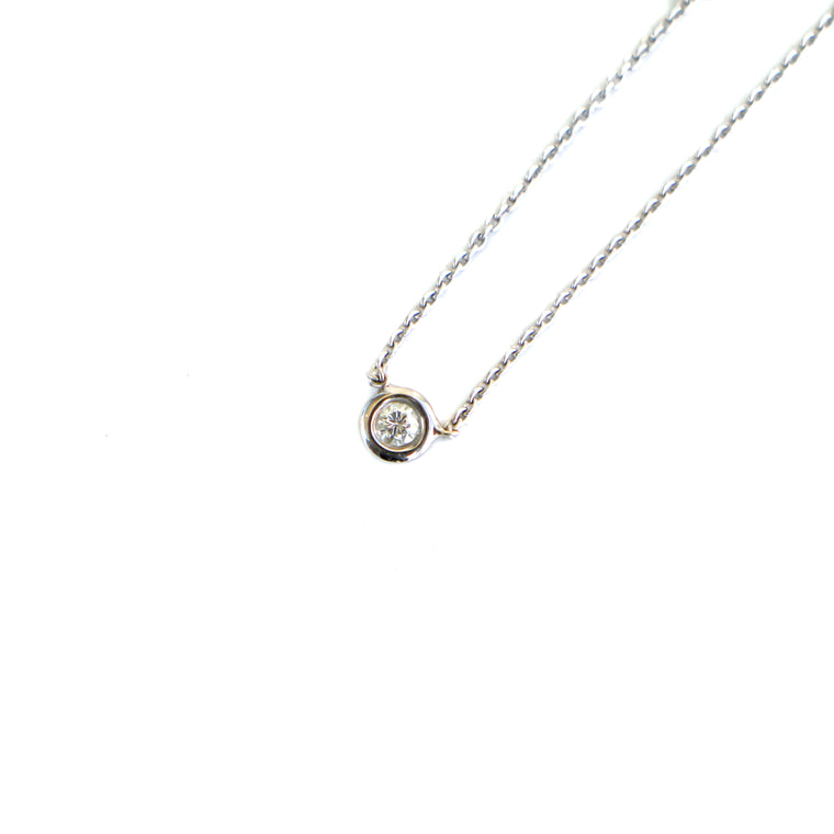 Hand Made 16inch 14k White Gold .10ctw Bezel Diamond Pendant