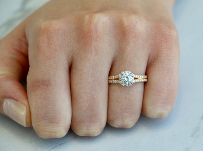 Precision Set 14k Two Tone Engagement Ring