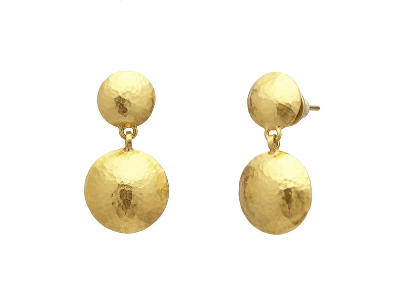 Gurhan 24k Yellow Gold Lentil Double Drop Earrings
