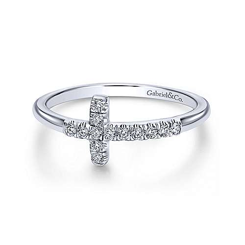 Gabriel & Co Diamond Sideways Cross Ring