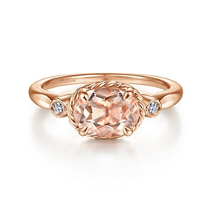 Gabriel & Co 14K Rose Gold Three Stone Morganite Ring