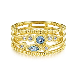 Gabriel & Co 14K Yellow Gold Blue Topaz and Diamond Multi Row Ring