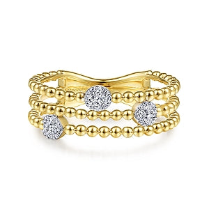 Gabriel & Co 14K Yellow Gold Three Row Beaded Ring
