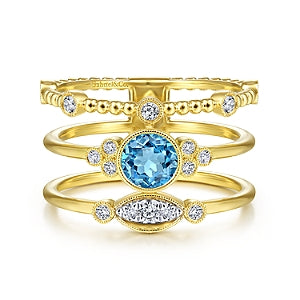 Gabriel & Co 14K Yellow Gold Three Row Beaded Blue Topaz Ring