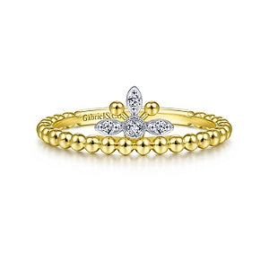 Gabriel & Co 14K White and Yellow Gold Crown Ring
