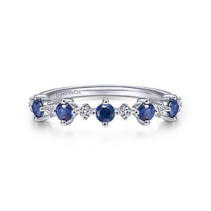Gabriel & Co 14K White Gold Alternating Blue Sapphire and Diamond Ring