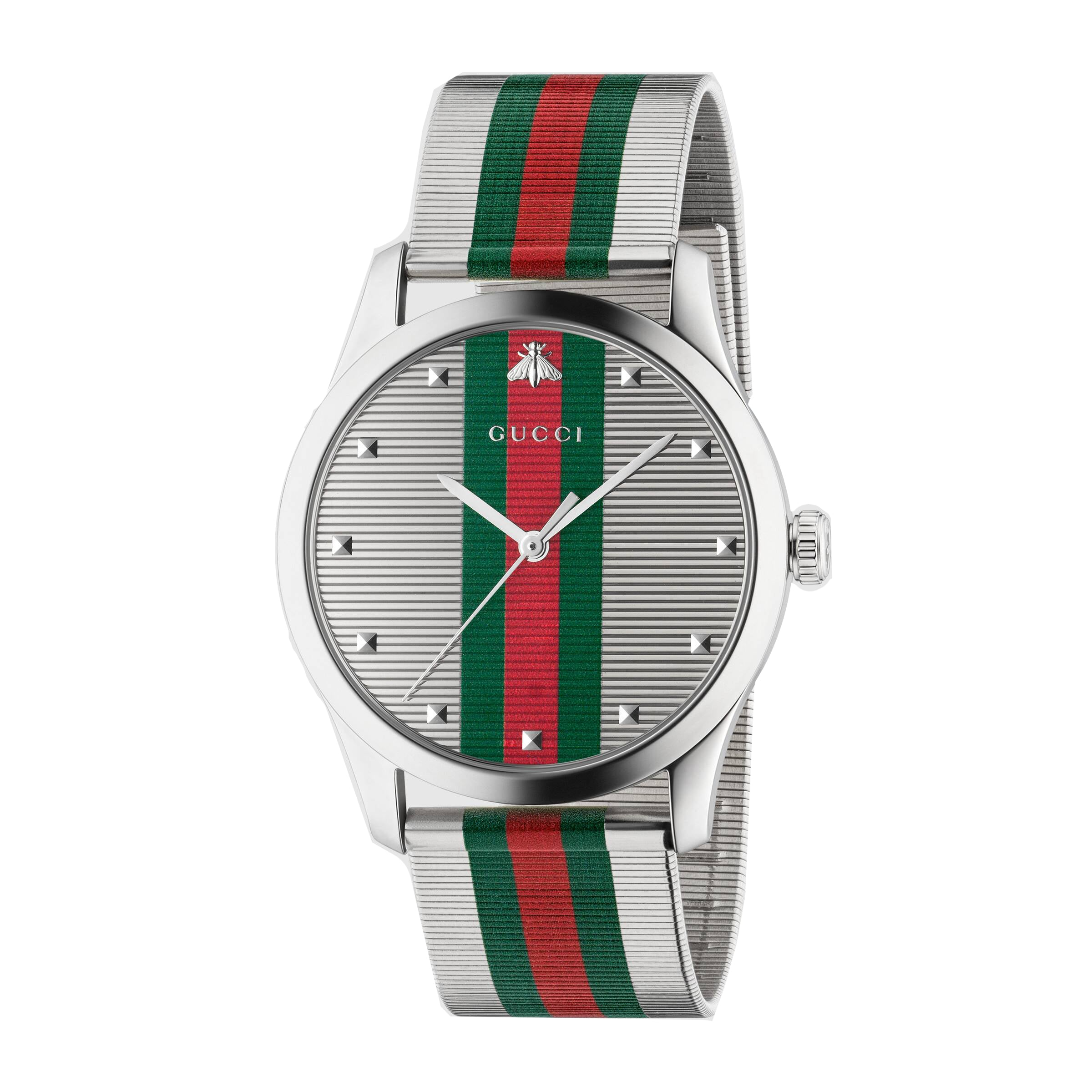 Gucci G-Timeless 42mm Watch with House Web Stripe Dial
