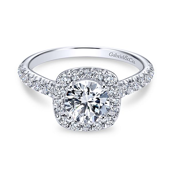 Gabriel & Co 'Lyla' Cushion Halo Engagement Ring