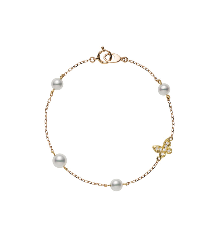 Mikimoto Pearl and Butterfly Charm Bracelet