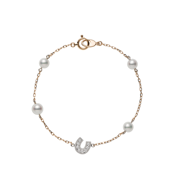 Rose Gold Akoya Cultured Pearl Station Bracelet with Diamond Horseshoe Charm