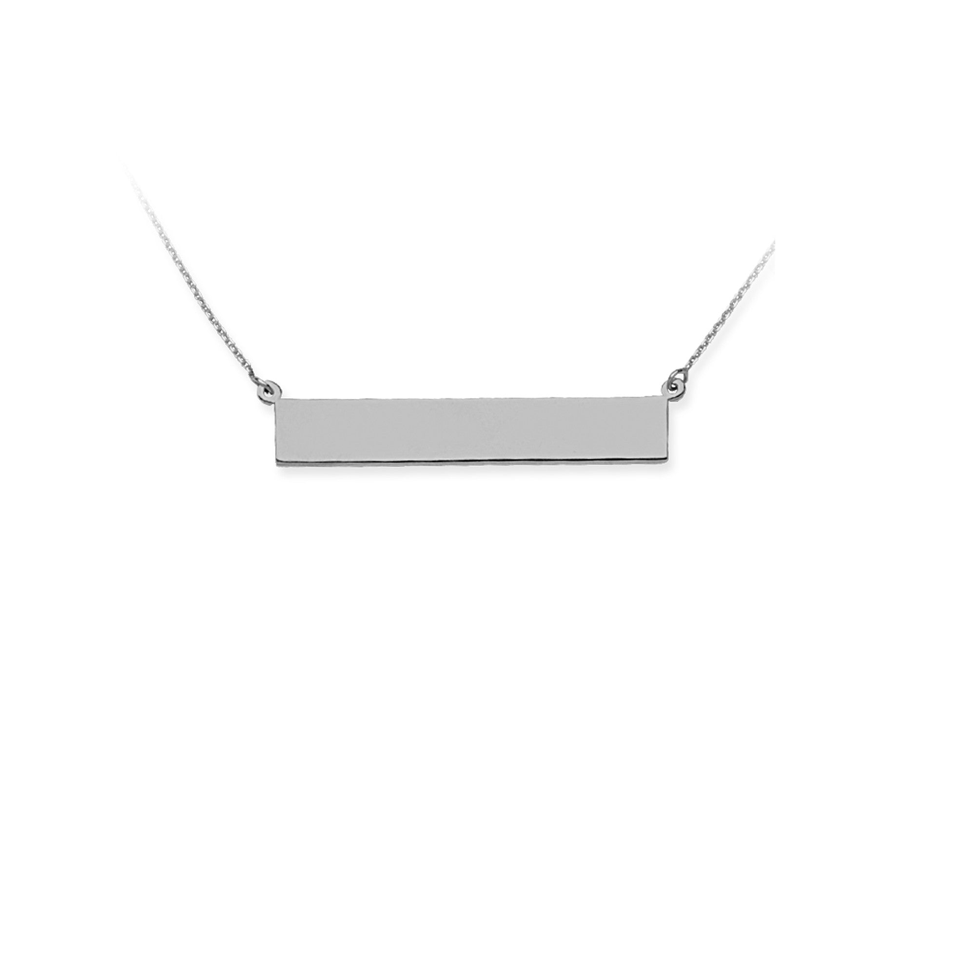 White Gold Bar Necklaces (Engravable)
