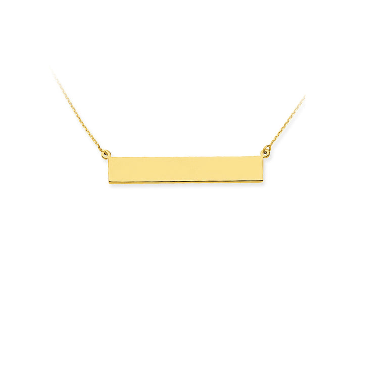 Yellow Gold Bar Necklaces (Engravable)