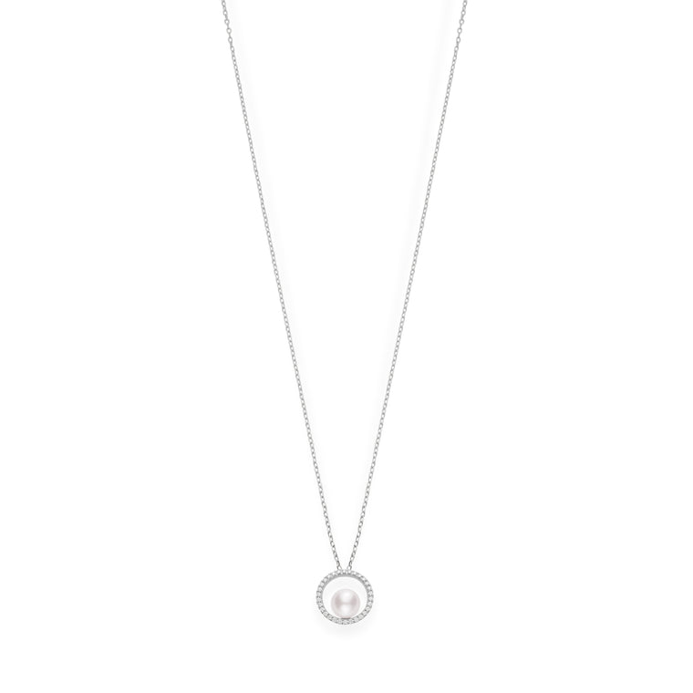 Mikimoto 18k White Gold Akoya Pearl and Diamond Pendant Necklace