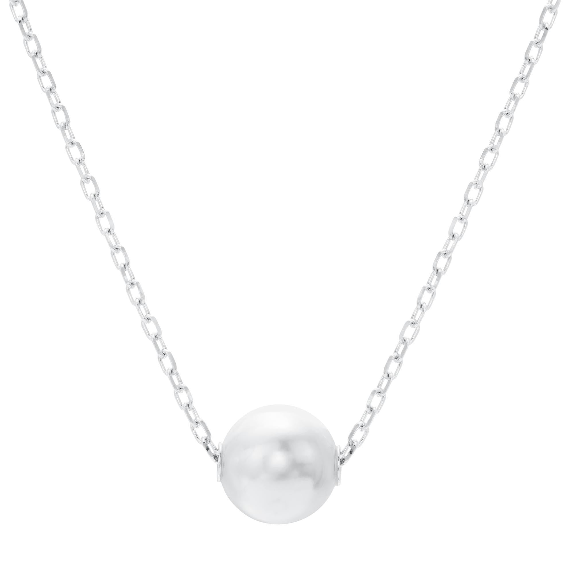 necklace white graduated with pendant silver store pearl single clasp