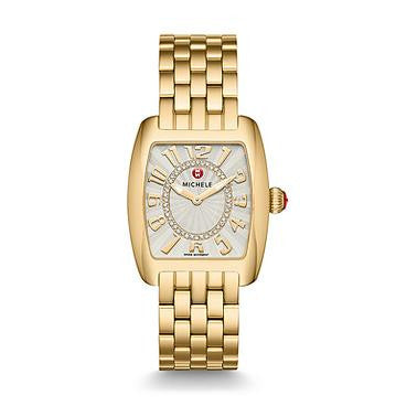 Michele Urban Mini Gold Diamond Dial Watch