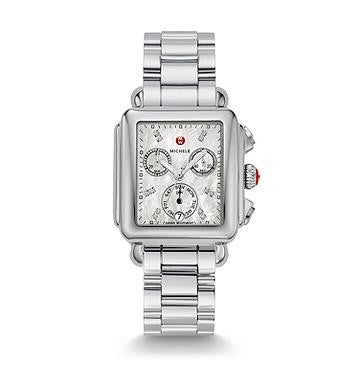 Michele Signature Deco Diamond Dial Watch