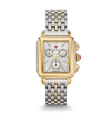 Michele Signature Deco Diamond Dial Two-Tone Watch