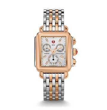 Michele Signature Two-Tone Rose Diamond Dial Watch