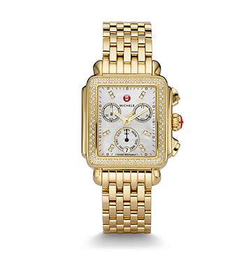 Michele Signature Deco Diamond Watch in Gold
