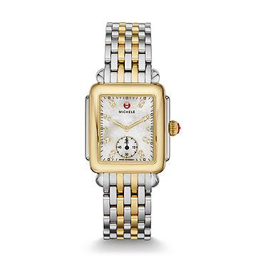 Michele Deco 16 Diamond Dial Two-Tone Watch