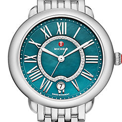 Michele Serein Teal Diamond Dial Watch