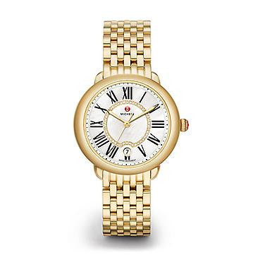 Michele Serein 16 Diamond Dial Gold Watch