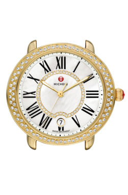 Michele Serein Gold Watch with Diamonds and a White Dial