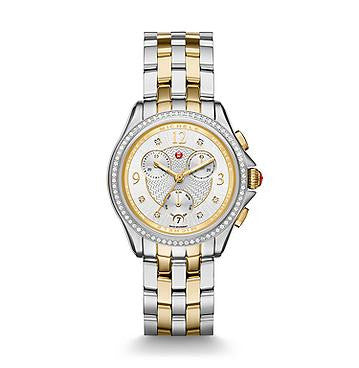 Michele Belmore Two-Tone Chrono Diamond Watch