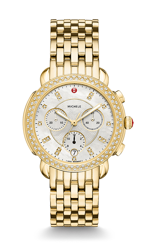 Michele 'Sydney' Chronograph Gold Diamond Watch