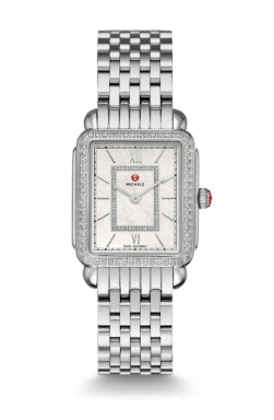 Michele Deco II Mid-Size Diamond Watch with Mother of Pearl Dial