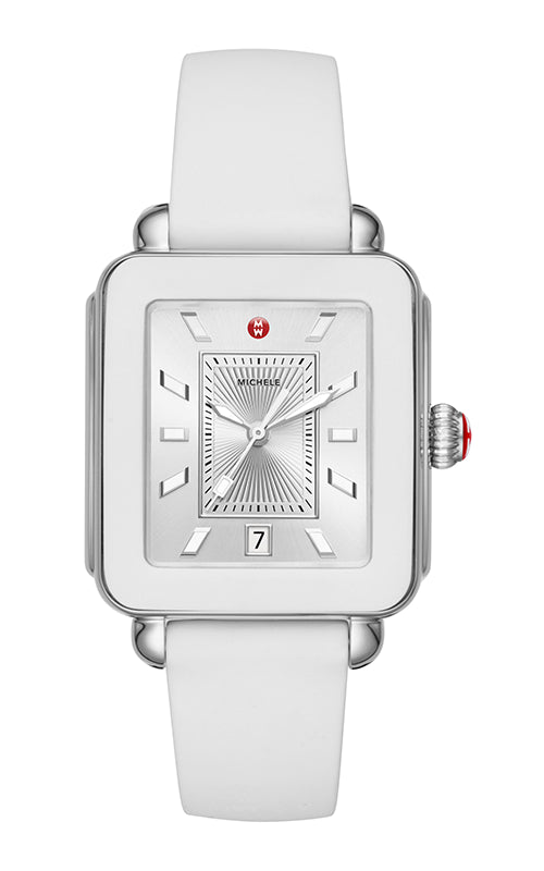 Michele Deco Sport Stainless-Steel and White Silicone Watch