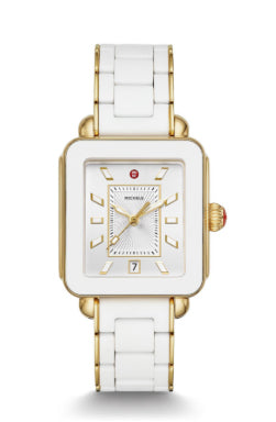Michele Deco Sport Gold and White Wrapped Silicone Watch