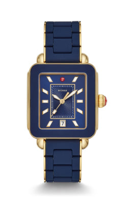 Michele Deco Sport Gold Deep Blue Wrapped Silicone Watch