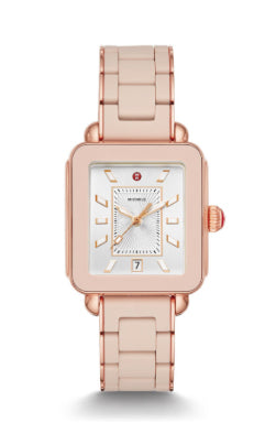 Michele Deco Sport Pink Gold Desert Rose Wrapped Silicone Watch